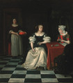 A lady and her chaperone playing cards in an interior - (after) Gerard Ter Borch