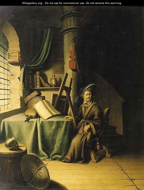 A scholar in an interior - (after) Gerrit Dou