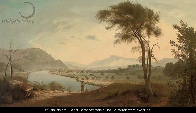 View of the Valley of the Lune, with the Lune river, Lancaster, and a figure with his dog in the foreground - (after) George, Of Chichester Smith