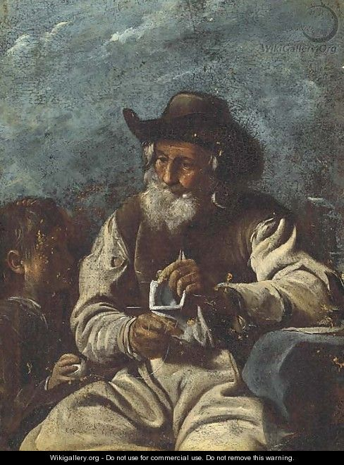 An old man knitting with a young boy - (after) Giacomo Francesco Cipper