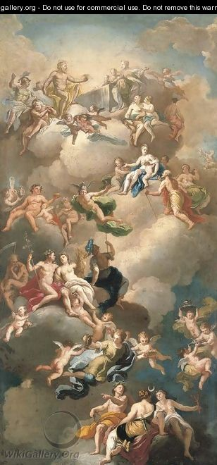 The Triumph of the Gods, a modello for a ceiling - (after) Giacinto Diano