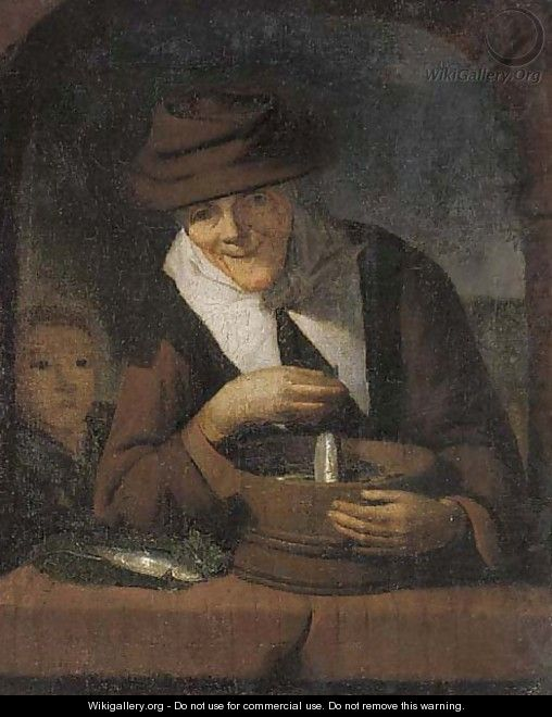 An old woman with a tub of fish at a casement - (after) Gerrit Dou