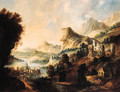 An extensive Rhenish landscape with an elegant couple and travellers on a path above a valley - (after) Gerrit Van Battem