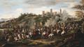 A cavalry charge beneath a hilltop fortified town - (after) Francesco Simonini
