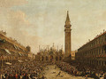 The Piazza San Marco, Venice, on the Doge's Coronation Day, with the Doge and the Admiral of the Arsenal being carried on the Pozzetto - (after) Francesco Guardi
