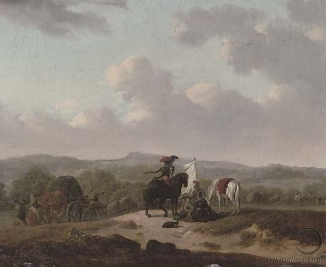 Soldiers on horseback resting by a track with caravans, a landscape beyond - (after) Francesco Giuseppe Casanova