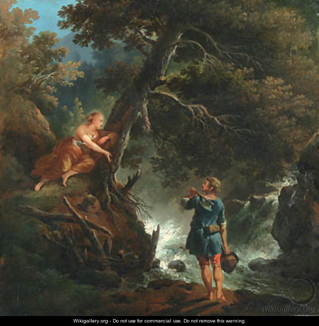 A Woodman and Nymph by a Waterfall - (after) Francesco Giuseppe Casanova