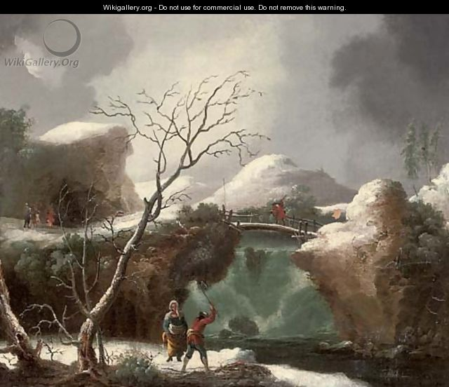 A winter landscape with figures by a waterfall - (after) Francesco Foschi