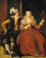 An elegant couple courting in a bedroom - (after) Frans II Francken