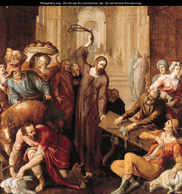 Christ driving the money lenders from the Temple - (attr. to) Floris, Frans