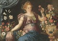 A woman seated with ornamental vases of flowers - (attr. to) Floris, Frans