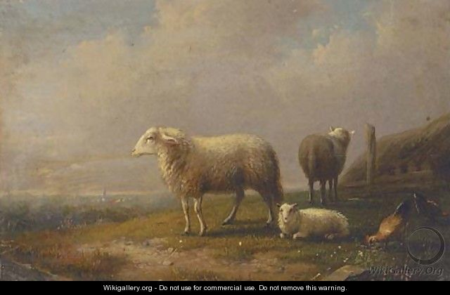 Sheep and chickens in a meadow, a town beyond - (after) Francois Vandeverdonck