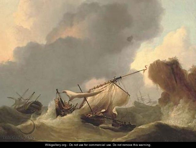 Ships in distress off a rocky headland - (after) Francis Sartorius