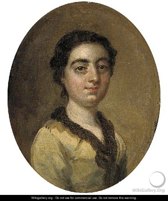 Portrait of a young lady, small bust-length, in a yellow dress - (after) Hayman, Francis