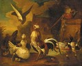 A hawk attacking a cockerel, with chickens - (after) Francis Barlow