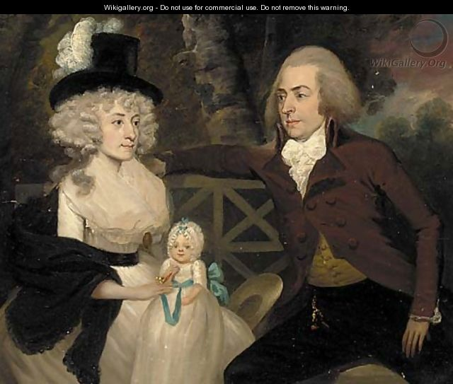 group portrait of a husband  wife and their child -  after  Francis    Portrait Of A Husband And Wife