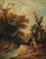 A rocky river landscape with travellers resting on a bank - (after) Franz Ferg