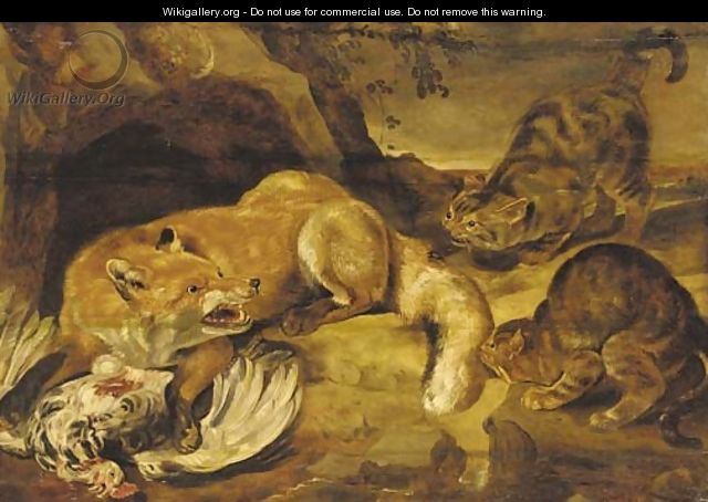 A fox defending its kill from wild cats - (after) Frans Snyders
