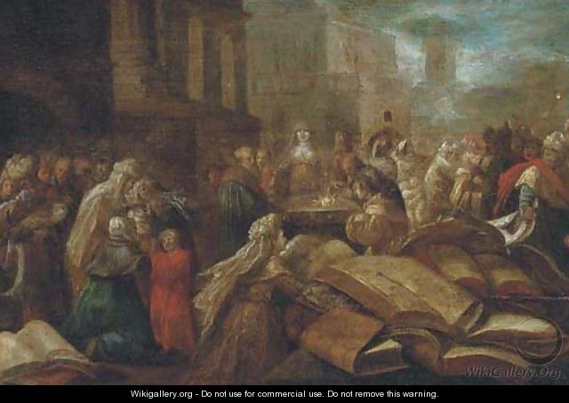 Figures at a temple a ceremony to Minerva - (after) Frans II Francken