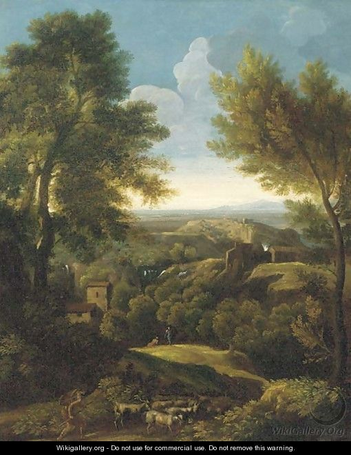 An extensive wooded landscape with a shepherd and his flock on a path - (after) Gaspard Dughet