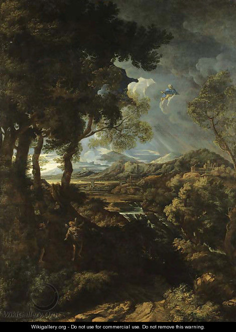 A wooded landscape with Elijah and the Angel - (after) Gaspard Dughet