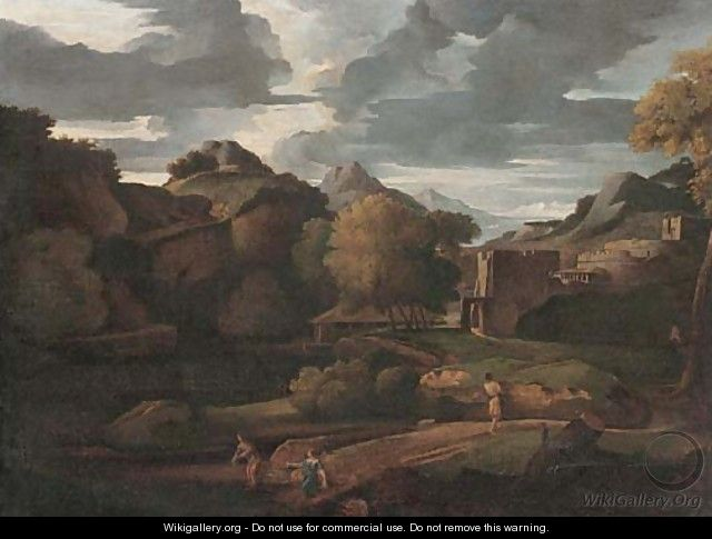 An Italianate landscape with figures on a path, classical buildings beyond - (after) Gaspard Dughet