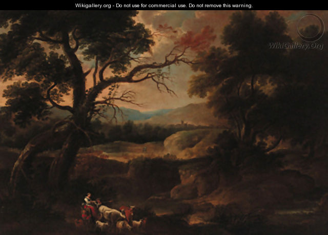 Drovers in a wooded landscape - (after) Gaspard Dughet Poussin
