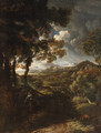 A wooded landscape with Elijah and the Angel - (after) Gaspard Dughet Poussin