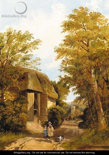 Figures on a track by a barn, a village beyond - (after) Frederick Richard Lee