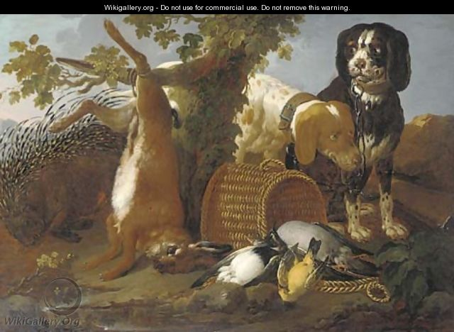 Spaniels, a porcupine, a hare and game in a landscape - (after) Domenico Brandi