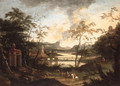 An extensive river landscape with a hunting party on a track - (after) Dirck Maas