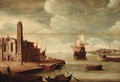 An Italianate harbour with a church on a quayside - (after) Dirck Verhaert