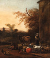 An Italianate Landscape with a Milkmaid and a Herdsman beside a Villa - (after) Dirck Van Bergen