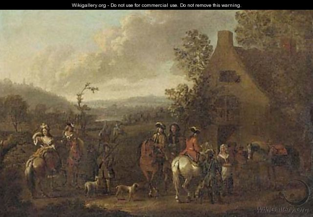 A landscape with an elegant hunting party before an inn - (after) Dirck Maas