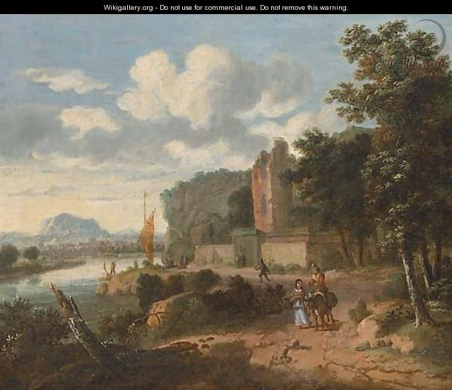 An extensive river landscape with figures on a track, ruins and a town beyond - (after) Dionys Verbrugh