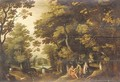A wooded landscape with Saint John the Baptist in the wilderness - (after) David Vinckboons