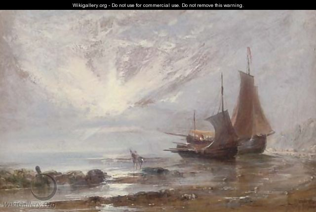 Loading the boats at low tide - (after) Edwin Hayes