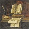 Books, an hourglass, a quill and ink pot and a compass on a table - (after) Edwart Collier