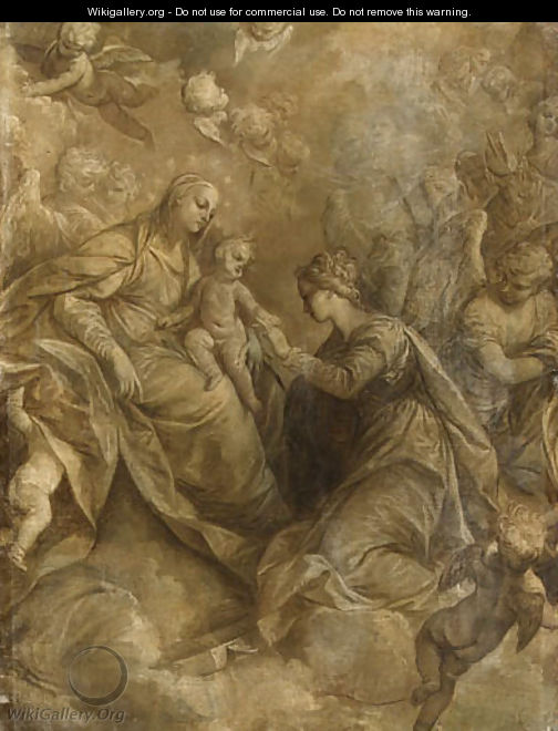 The Mystic Marriage of Saint Catherine of Alexandria, with angels and cherubim, en grisaille - (after) Donato Creti