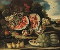 Melons, pears, grapes and apples on a bank - (after) Felice Boselli