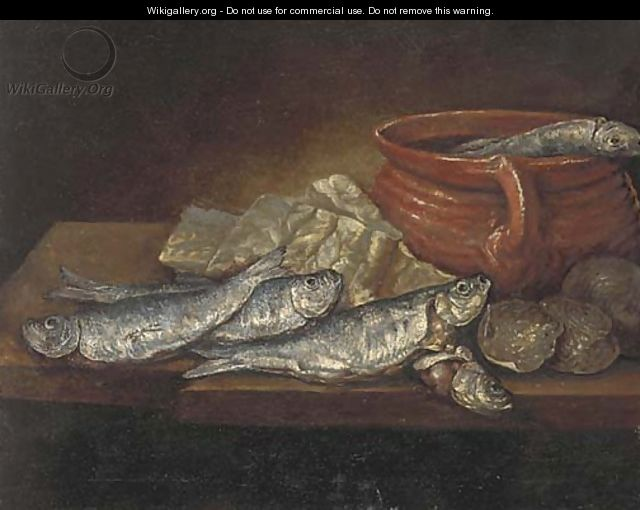 Herrings, oysters and an earthenware dish on a ledge - (after) Elena Recco
