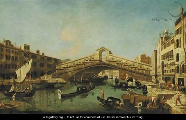 The Grand Canal, Venice, with the Rialto Bridge - (after) Francesco Albotto