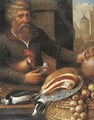 A peasant selling ham, onions and poultry at a market - (after) Floris Gerritsz. Van Schooten