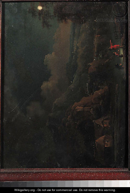 A moonlit Rhenish landscape with anglers - (after) Christian Georg II Schutz Or Schuz