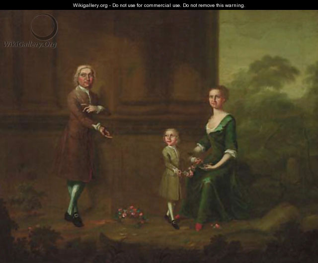 Portrait of a gentleman with his wife and child - (after) Charles Phillips