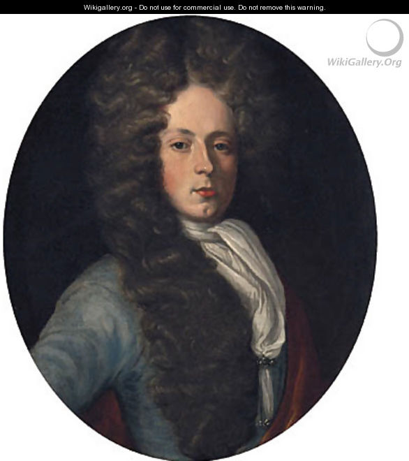Portrait Of Anthony Wood, Half-Length, In A Blue Coat And White Stock - (attr. to) Jervas, Charles