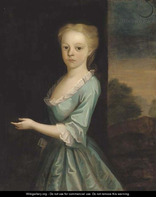Portrait of a girl, standing three-quarter-length, in a turquoise dress, a landscape beyond - (attr. to) Jervas, Charles
