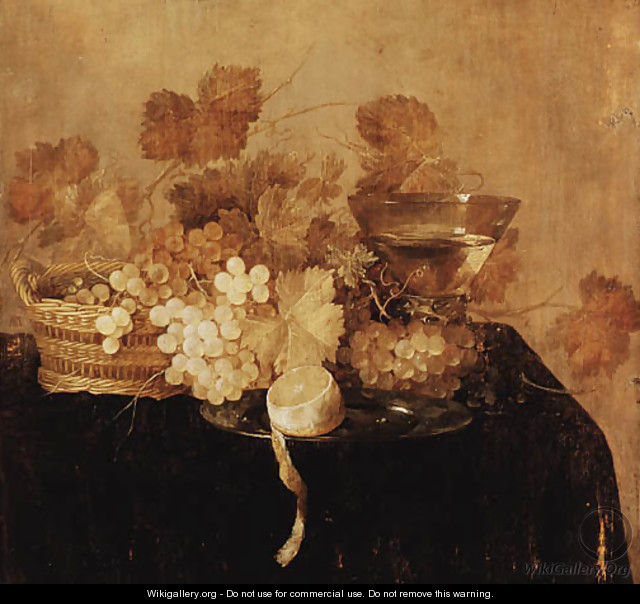 Grapes in a wicker Basket - (after) Cornelis Cruys