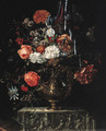 Roses, carnations, iris, morning glory and other flowers in a gilt bowl on a sculpted ledge - (after) Coenraet Roepel