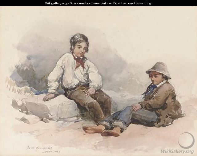 Two young fisherboys resting on the beach - (after) Clarkson Stanfield